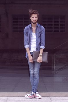 Anyone that knows me well knows I have a slight obsession with skinny jeans and I love how tight these are. Zara Shirt, H Tank Top, H Jeans, Converse Sneakers Men's Fashion, Fashion Lookbook, Fashion Guide, Street Fashion, Best Dressed Man, Well Dressed, Looks Style, My Style, Swag Style