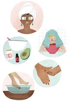 DIY Spa. Illustrated by Clare Owen. Represented by i2i Art Inc. #i2iart