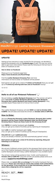 Updated information on the Leather Backpack Giveaway Event!! Please read more to find out!