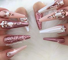It is very important for women to keep their nails fashionable. Coffin nails have always been a popular trend. Long coffin nails are one of the bolder nail art designs. Long coffin nails are very eye-catching and suitable for all women who love beaut Nail Art Designs, Long Nail Designs, Acrylic Nail Designs, Rhinestone Nails, Bling Nails, Gold Nails, Matte Nails, Classy Nails, Stylish Nails