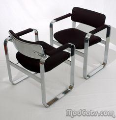 Eero Aarnio; Chromed Steel Armchairs for Mobel Italia, c1968.