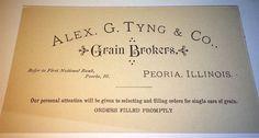 Rare Antique American Advertising Grain Brokers! Peoria, Illinois Trade Card! #AlexGTyngCo