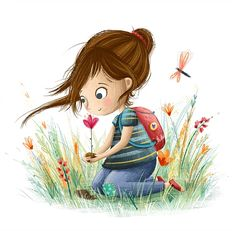 Red shoes and red flowers! Illustrations by Lucy Fleming