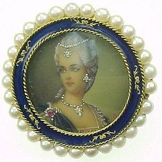 Miniature Portrait Brooch / Pendant Enameled 18k Gold Cultured Pearl - For sale on Ruby Lane #RubyLane #AntiqueJewelry