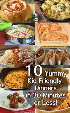 10 yummy kid-friendly dinners in 30 minutes or less. Keep this on hand for busy weeknights!
