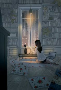 Pascal Campion is a French-American artist based in Burbank, California who creates heartwarming and soulful illustrations about every day life. Art And Illustration, Fantasy Kunst, Fantasy Art, Art Mignon, Anime Kunst, Anime Scenery, Aesthetic Art, Cat Art, Cartoon Art