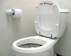 Vinylworld Humorous funny joke toilet decal sticker 'Put Me Down!' (BLACK): Amazon.co.uk: Kitchen & Home