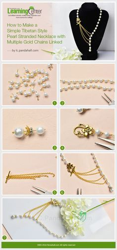 How to Make a Simple Tibetan Style Pearl Stranded Necklace with Multiple Gold Chains Linked from LC.Pandahall.com
