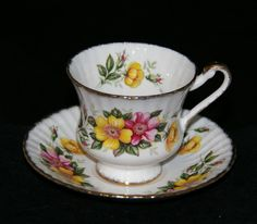 PARAGON FINE BONE CHINA CABINET CUP & SAUCER DUO PATTERN F54K FLUTED SHAPE Tea Cup Saucer, Tea Cups, Bone China, China Cabinet, Flute, Vintage Items, Shapes, Tableware, Pattern