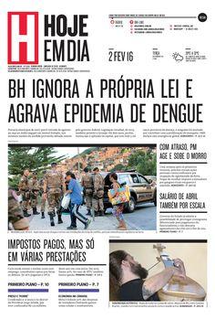 Capa do dia 02/02/2016 #HojeEmDia #Jornal #Notícias #News #Newspaper