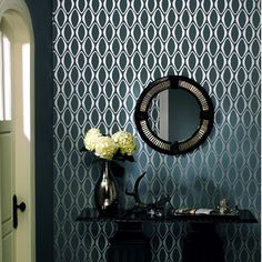 "Brewster Home Fashions""Echo Design Diamond Geometric Wallpaper in Midnight Black Tonal Hallway Wallpaper, Home Wallpaper, Chic Wallpaper, Bathroom Wallpaper, Wallpaper Ideas, Embossed Wallpaper, Geometric Wallpaper, Geometric 3d, Silver Wallpaper"