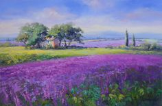 Beautiful Landscape Paintings, Paintings I Love, Flower Landscape, Landscape Art, Acrylic Painting Flowers, Pictures To Paint, Land Scape, Provence, Watercolor Art