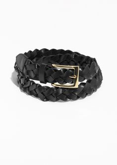& Other Stories Braided Leather Belt  in Black