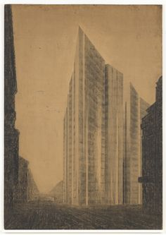 Friedrichstrasse Skyscraper Project, Berlin-Mitte, Germany (Exterior perspective from north). Ludwig Mies Van Der Rohe, Moma, Perspective, Skyscraper, Berlin, Germany, Exterior, Architecture, Drawings