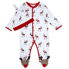 Buy John Lewis Reindeer Print Sleepsuit & Hat, White Online at johnlewis.com