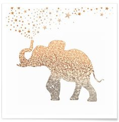 Gold Elephant en Affiche premium par Monika Strigel | JUNIQE