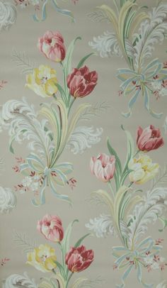 1940's Vintage Wallpaper Pink and Yellow Tulip by HannahsTreasures