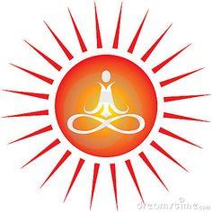 Yoga energy icon with sun shape