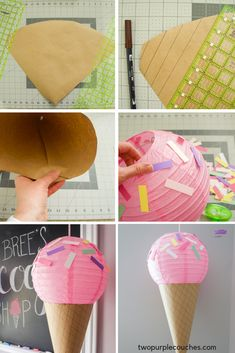Paper lantern ice cream cones are an easy DIY decoration for a baby shower or ice cream party. Learn how to make them with this simple tutorial. Gingerbread Christmas Decor, Candy Christmas Decorations, Diy Party Decorations, Diy Decoration, Ice Cream Decorations, Candy Themed Party, Candy Land Theme, Ice Cream Theme, Ice Cream Party