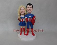 Check out this item in my Etsy shop https://www.etsy.com/listing/226795012/custom-wedding-cake-topper-captain