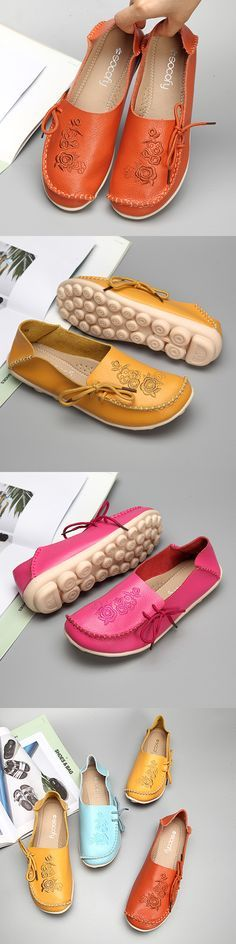 US$16.65  SOCOFY Large Size Floral Print Soft Flat Leather Loafers
