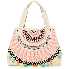 RAJ Needlepoint Tassel Beach Tote ($50) ❤ liked on Polyvore featuring bags, handbags, tote bags, pink, pink beach tote, pink purse, zippered tote bag, pink beach bag and zip purse