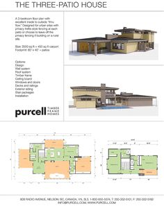 """The Three Patio House: A 3 bedroom floor plan with excellent inside outside """"thru flow""""."""