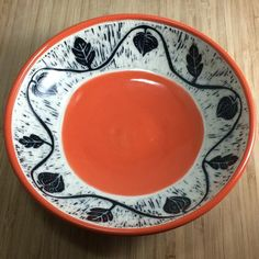 wheel-thrown, hand-carved, porcelain bowl Clementine (reddish-orange) height - rim - Lead free and food safe Large Bowl, Safe Food, Hand Carved, Porcelain, Carving, Plates, Ceramics, Tableware, Bowls