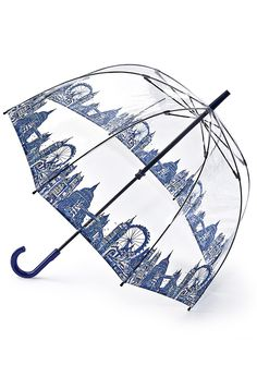 Due to high demand the London Icons Birdcage  Umbrella will be unavailable until Fall 2016.See where you're going and keep yourself dry under the  umbrella favored by Her Majesty the Queen. The clear yet  sturdy canopy covers your head and shoulders with room to  spare, lets your admirers recognize you, and vice versa.  Strong yet lightweight  fiberglass ribs; easy opening and closing. Blue London  Icons trim the base and a crook handle make for a  com...