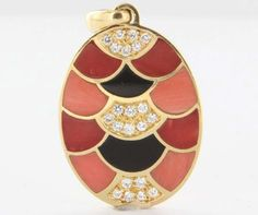 Vintage 18 Karat Yellow Gold Diamond Inlaid Coral Onyx Pendant Fine Estate Jewelry $1395