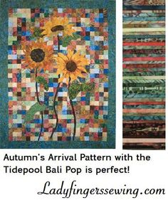 "Bali Pops Tidepool Includes 40-- 2 1/2"" x 44"" strips of Hoffman batik fabric The Tidepool Bali Poip is perfect for the Autumn's Arrival Pattern!"
