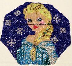 reine des neiges en perles, tissage danois, napperon en perles