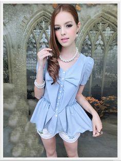 Morpheus Boutique  - Blue Bow Short Sleeve Pleated Button Down Shirt