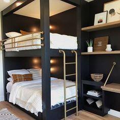 Modern Bedroom Design Ideas,Stunning Bedroom Decor Ideas How stunning is this bunk bed design? Via Benjamin Moore Queen Bunk Beds, Bunk Bed Rooms, Bunk Beds Built In, Cool Bunk Beds, Modern Bunk Beds, Bedrooms, Painted Bunk Beds, Black Bunk Beds, Cheap Bunk Beds