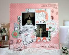 Scrapbook layout using embellishments from the Pincushion collection by Bo Bunny