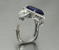 Sapphire and Diamond Ring - for those, like myself, with arthritic knuckles. This is a series of photos.