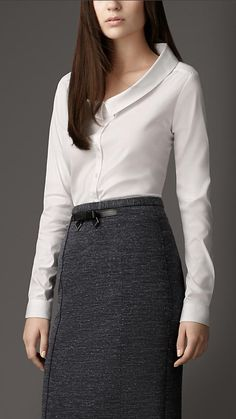 Dropped Collar Cotton Shirt [$450.00] w/  Leather Detail Jersey Pencil Skirt [$475.00]