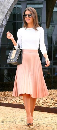 #spring #outfits White Top Blush Pleated Skirt