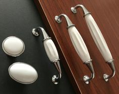 New White and Chrome Cabinet Knobs