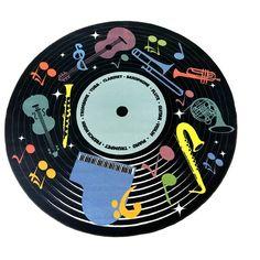 Classroom Carpets, Classroom Decor, Music Classroom, Record Wall Art, Record Decor, Record Crafts, Cd Crafts, Cd Art, Round Area Rugs
