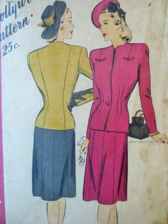 Vintage Hollywood 1685 Sewing Pattern, 1940s Suit Pattern, Bust 30, 1940s Sewing Pattern 40s Glamour World War II Fashion, Vintage Sewing by sewbettyanddot on Etsy