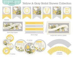 Bridal Shower Decorations Printable Yellow & Gray by PaperAndPip Anniversary Party Decorations, Bridal Shower Decorations, Anniversary Parties, Birthday Decorations, Yellow Bridal Showers, Bridal Shower Tea, Yellow Grey Weddings, Wedding Yellow, Shower Party