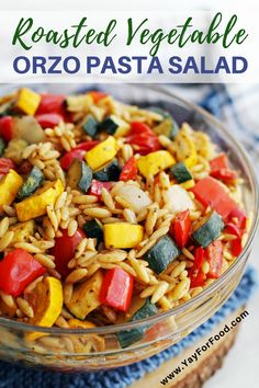 Loaded with fresh roasted vegetables, this orzo pasta salad recipe features a tangy Dijon-balsamic vinaigrette. Served warm or chilled, it makes for a quick and easy summer side dish. #yayforfood | #pastasalad | #sidedish | #summerrecipes | #recipeoftheday | #vegetarianrecipes | #easyrecipes | #zucchini | #orzo | #pasta | #quickandeasy | #vinaigrette | #dressing | #vegetarian