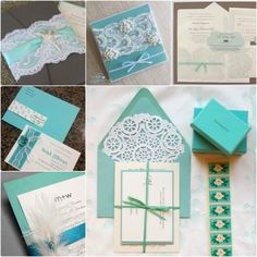 Tiffany blue invitations with embellishments.