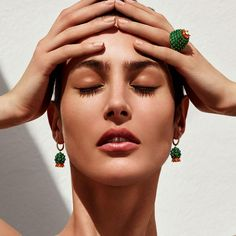 Cactus de Cartier emerald and carnelian earrings resemble the succulent cactus flowering, set in yellow gold with diamonds. Discover the best jewellery of 2016 that defied the conventions of the ordinary, producing avant grade and  defiantly different fashion statements: http://www.thejewelleryeditor.com/jewellery/article/defiantly-different-my-year-unusual-jewels/ #jewelry