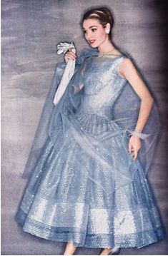 Model Elsa Martinelli in a Serenity blue Christian Dior ankle length full-skirted evening dress, photo by Clifford Coffin for Vogue, November Vintage Dior, Moda Vintage, Vintage Gowns, Vintage Couture, Vintage Mode, Vintage Glamour, Vintage Beauty, Vintage Outfits, Metallic Vintage Dresses