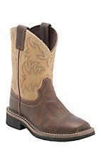 Justin Junior Stampede Kids Waxy Brown with Beige Top JOW Square Toe Western Work Boots
