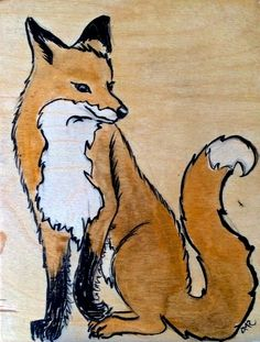 Fox - ink and stain on wood  by Alli Rath allirath.com
