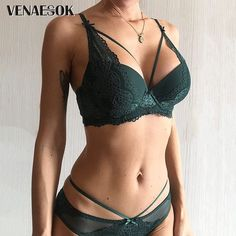 New Top Black Brassiere Deep V Sexy Underwear Set Thick Green Push Up Bra Panties Set Embroidery Women Lingerie Set Lace Bras - Lovely Novelty Women's Lingerie Sets, Jolie Lingerie, Lingerie Outfits, Pretty Lingerie, Beautiful Lingerie, Women Lingerie, Sexy Lingerie, Bridal Lingerie, Sexy Bra