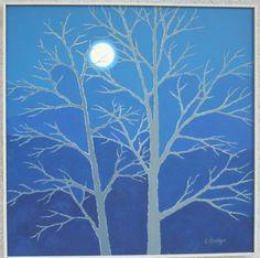 Midnight Courage Original Art trees in winter night by LynettesArt, $146.00  Brrrrrrr!